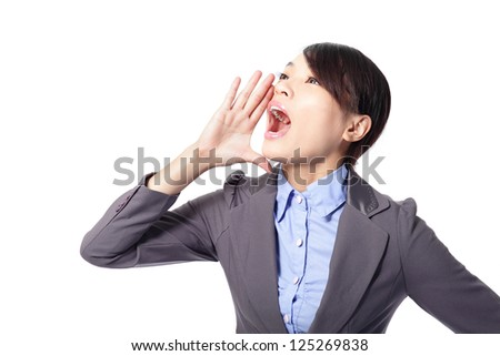 business woman scream to empty copy space by having combined hands in a megaphone isolated on white background, asian model - stock photo