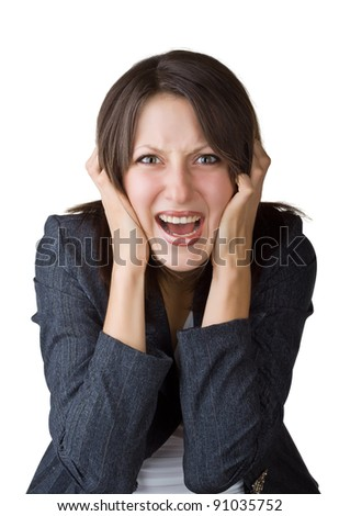 Business woman screaming, isolated on white background - stock photo