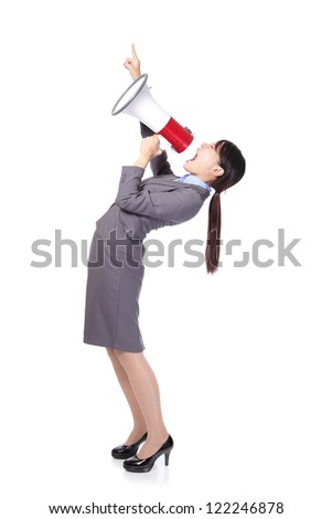 Business woman screaming with a megaphone and finger point to up forward copy space in full length isolated on white background, model is a asian beauty