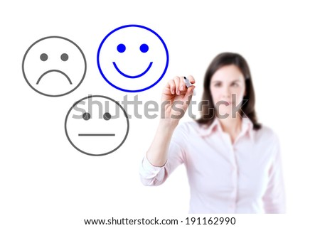 Business woman select happy on satisfaction evaluation.  - stock photo