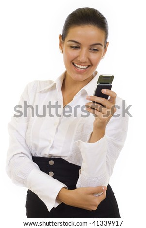 business woman sending a text message on her mobile phone - isolated