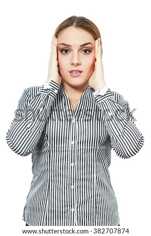 Business woman shocked forgot something hold her head in hands - stock photo