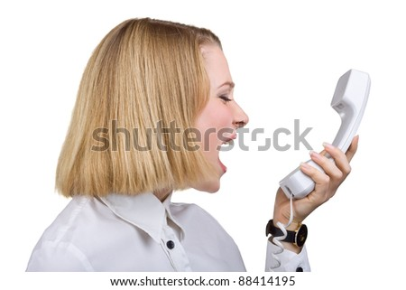 Business woman shouting into the telephone receiver, isolated on white background - stock photo