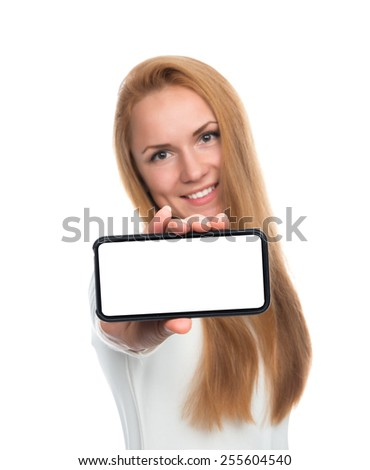 Business woman show blank card or mobile cell phone display on a white background. Focus on the hand - stock photo