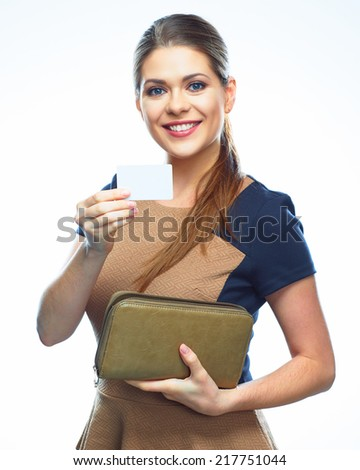 Business woman show credit card, white background  portrait. isolated