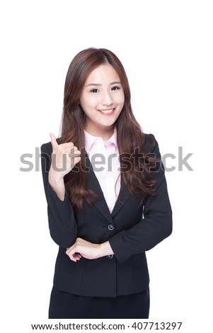 business woman show thumb up isolated on white background, asian beauty