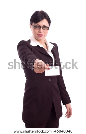 Business woman showing a blank card isolated over white background - stock photo