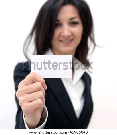 Business woman showing a business card isolated over white background - stock photo