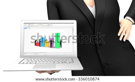 Business woman showing a laptop with a spreadsheet elaborated by a team - stock photo