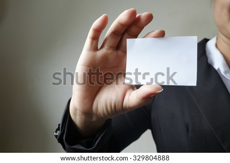 business woman showing business card , business idea concept