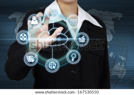 Business woman showing cloud computing. Concept of business model - stock photo