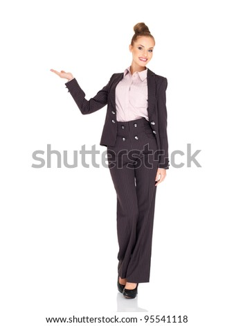 Business woman showing copy space isolated over a white - stock photo