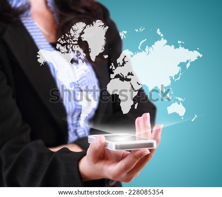 business woman showing modern tablet phone template and function world wide
