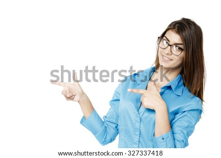 Business woman showing on copyspace. Isolated white. - stock photo