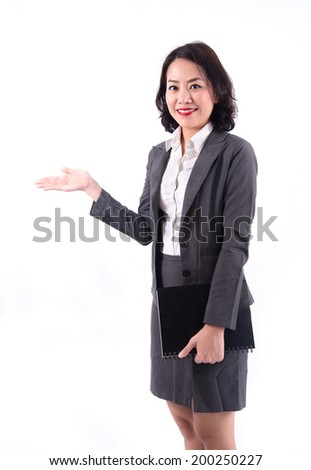 business woman showing something isolated over white background