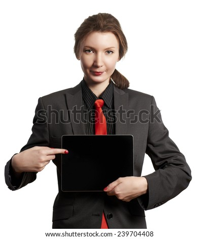 Business woman showing tablet isolated on white - stock photo