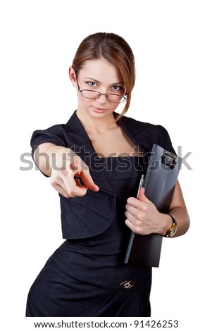 Business woman showing the index finger, isolated on white background - stock photo