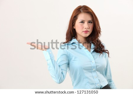 business woman showing with hand gesture - stock photo
