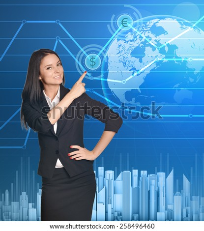 Business woman shows forefinger up on symbol dollar. - stock photo