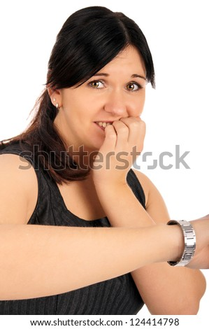 Business Woman shows on your watch / Business Woman - stock photo