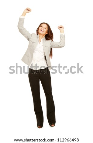 Business woman shows something, hands up,isolated on white background - stock photo