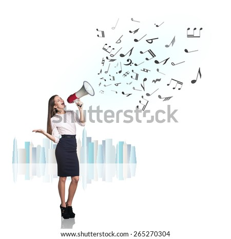 Business woman sing with megaphone with flying notes - stock photo