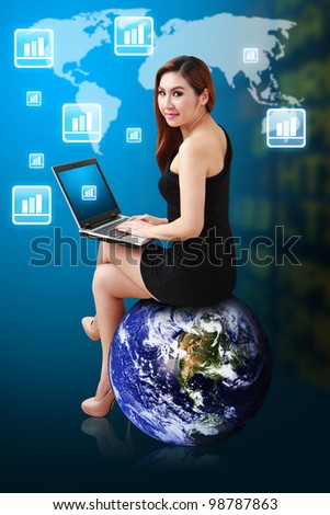 Business woman sit on earth and checking the Stock graph report : Elements of this image furnished by NASA