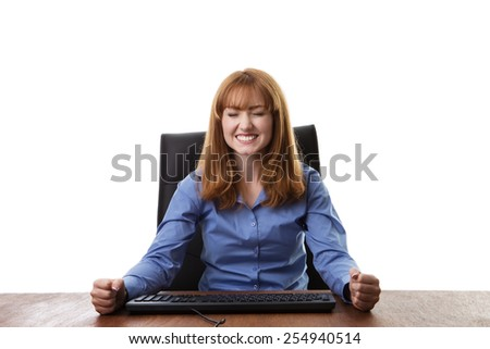 business woman sitting at her desk  - stock photo