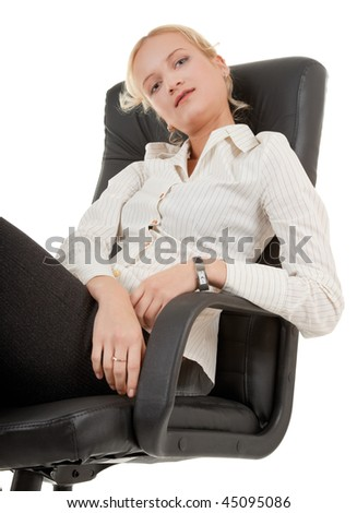 business woman sitting in a chair on white