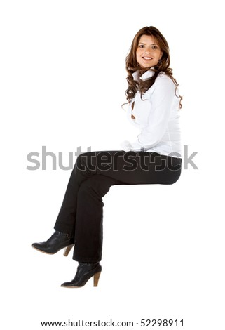 Business woman sitting on an imaginary object isolated over a white background - stock photo