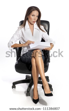 Business woman sitting on chair, holding document,  isolated on white background