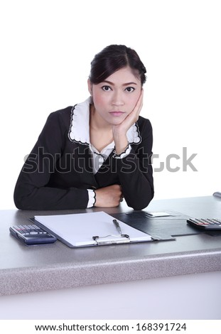 business woman sitting on her desk and thinking with documents sign up contract isolated on white background
