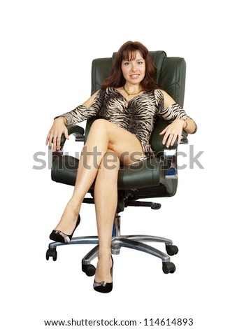 Business woman sitting on luxury office armchair. Isolated on white background
