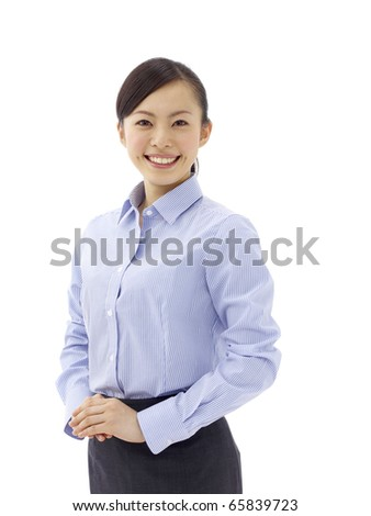 business woman smiling - isolated over a white background - stock photo