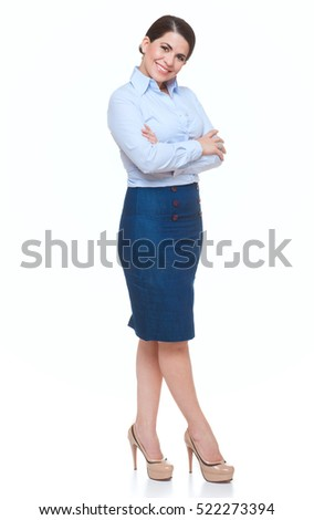 Business woman, smiling,  with arms crossed isolated over white.