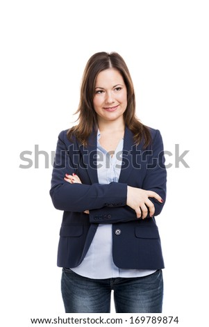 Business woman smiling with hands folded, isolated over white background - stock photo