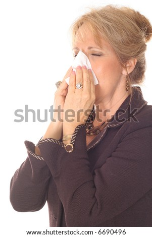 Business woman sneezing - stock photo