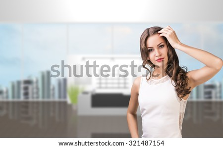 Business woman stand alone in office reception - stock photo