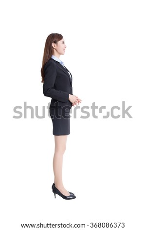 business woman stand profile full body stock photo edit now