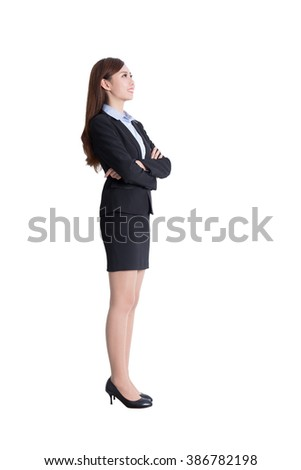 business woman stand profile in full body isolated on white background, asian - stock photo
