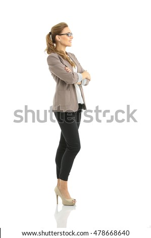 Business woman stand profile with white wall background