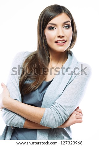 Business woman standing against white background. Smiling female business model studio  posing.