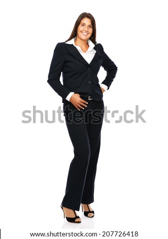 Business woman standing full lenght.    Isolated on a white background. check out. - stock photo