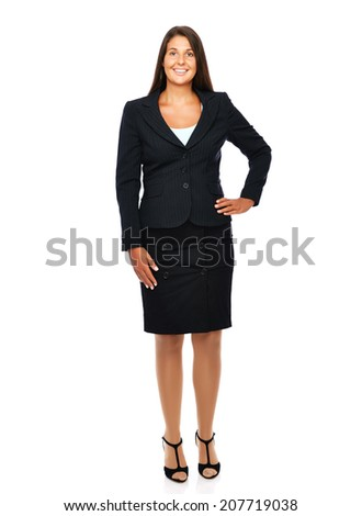 Business woman standing full length with empty copy space.   Isolated on a white background.