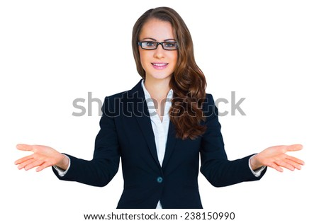 Business woman standing in an open position. Isolated on white background - stock photo