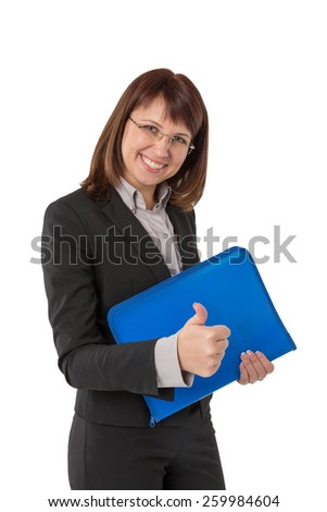 Business woman standing in black suit with briefcase