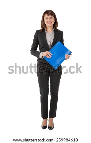 Business woman standing in black suit with briefcase - stock photo