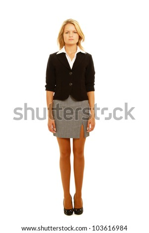 Business woman standing in full length isolated on white background. - stock photo
