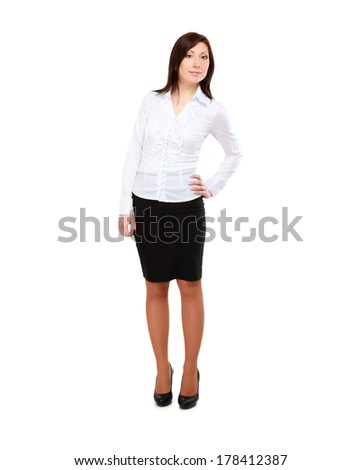 Business woman standing in full length isolated on white background