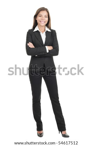 Business woman standing in full length isolated on white background. Beautiful mixed race Chinese Asian-Caucasian young female mode in suit.